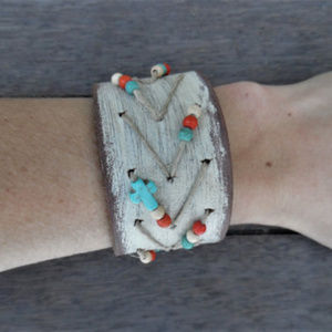 Native American Tribal Beads Leather Cuff Bracelet
